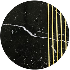 Glerry Home Decor Round Golden Black Marble