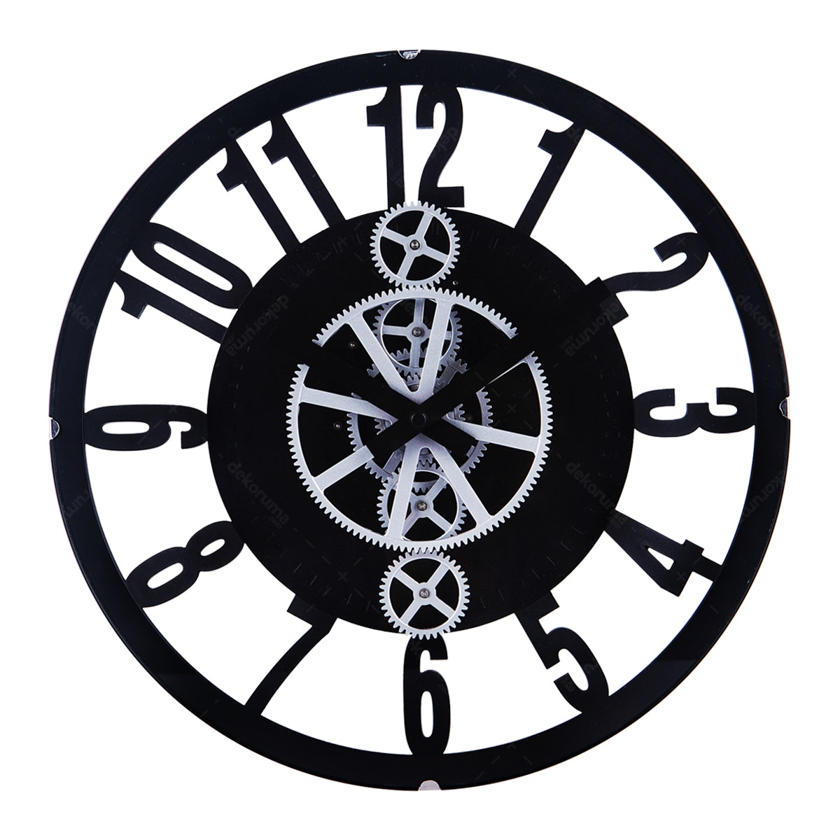 Gearclock Plastic Gear Wall Clock Black