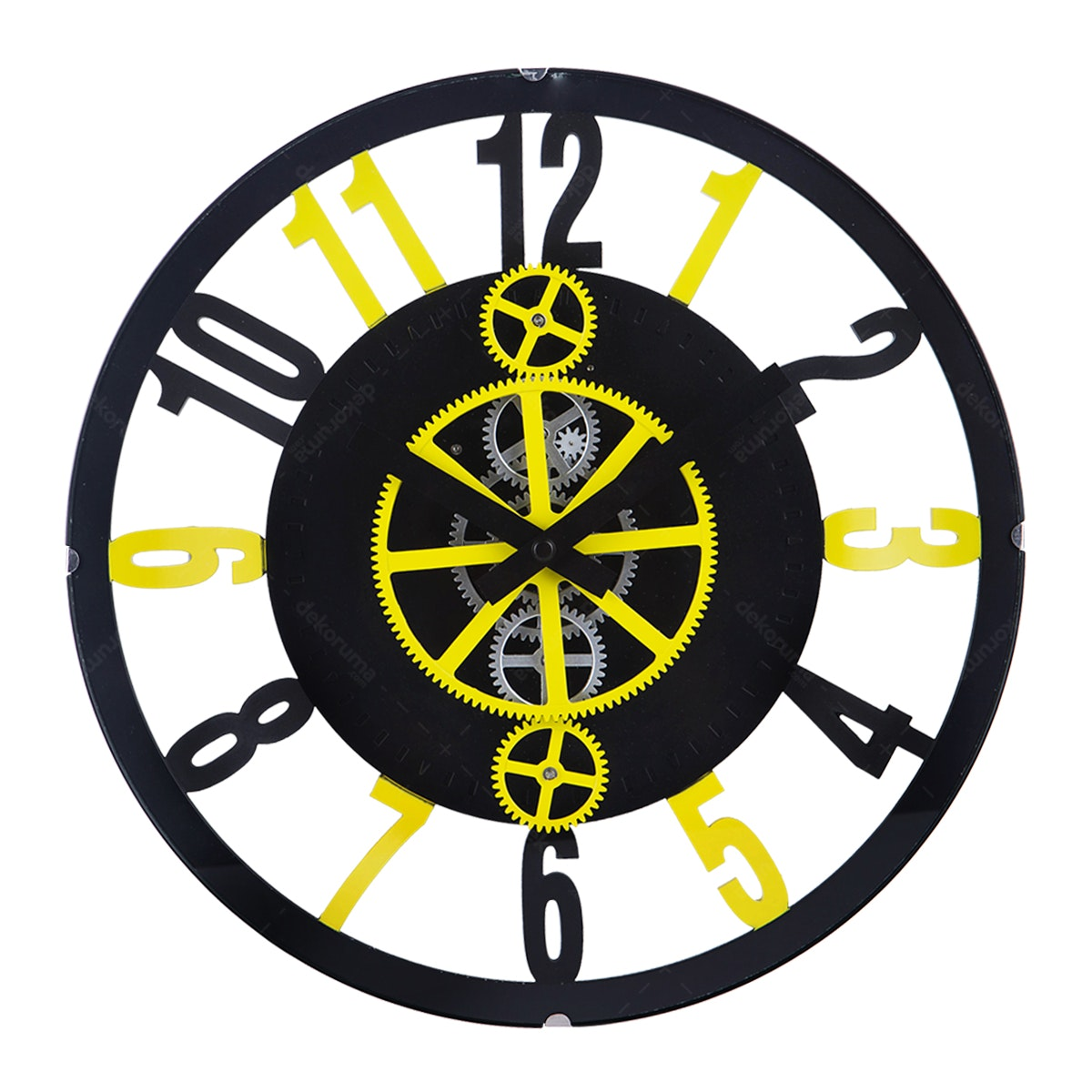 Gearclock Plastic Gear Wall Clock Black Yellow