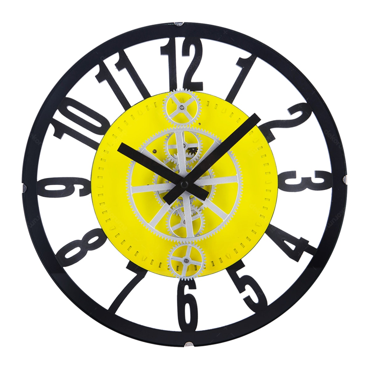 Gearclock Plastic Gear Wall Clock Yellow Black