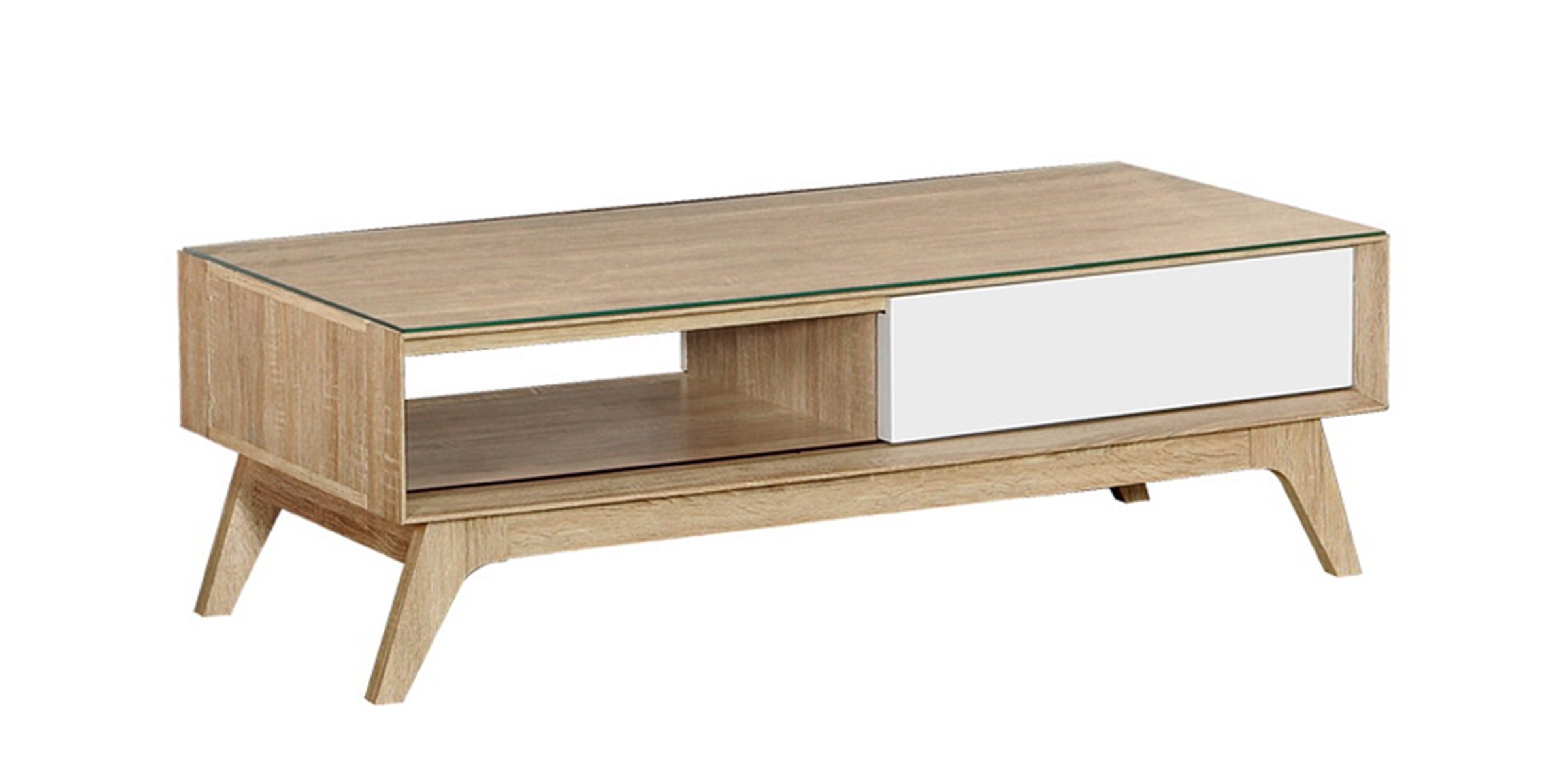 Graver Agusto Coffee Table dengan Laci Sonoma Cream Large
