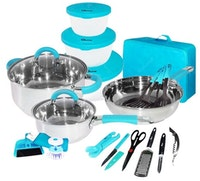 Oxone Panci Travel Cookware Set 23pcs OX-992 Biru