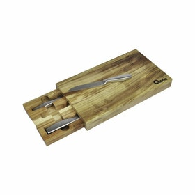 Oxone Wooden Chopping Board with Stainless Steel Tray OX-614