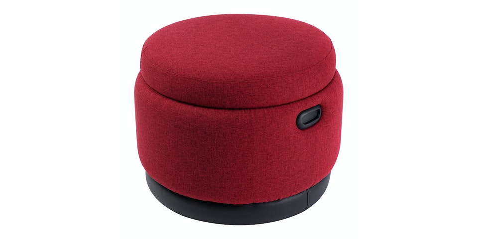 Hago Furniture Ottoman Storage Round Ruby