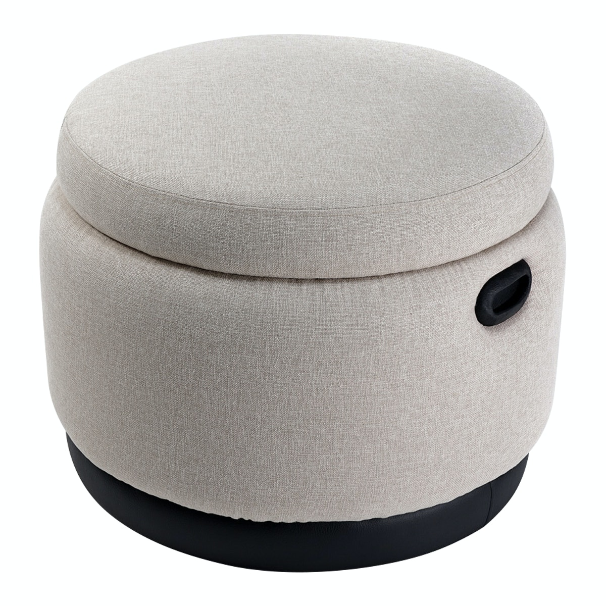 Hago Furniture Ottoman Storage Round Custard