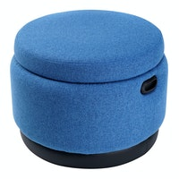 Hago Furniture Ottoman Storage Round Blue Jay