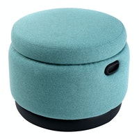 Hago Furniture Ottoman Storage Round Teal