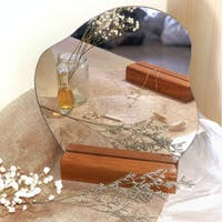 holladecor Charlotte Aesthetic Mirror with Raw Wood Stand
