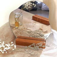 holladecor Charlotte Aesthetic Mirror with Finished Wood Stand