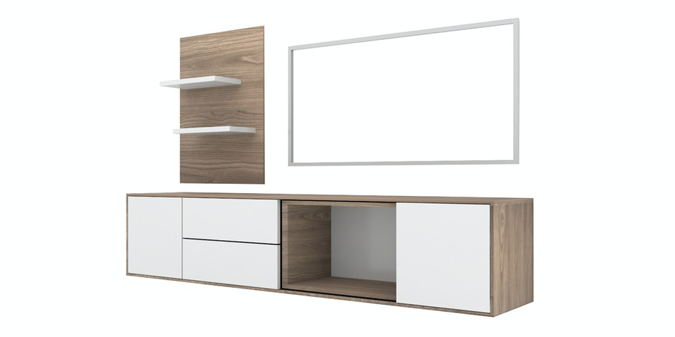 Case Furniture TV Cabinet with Wall Panel PCI004-02-SET Mocha Maple - White