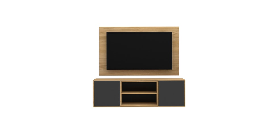 Case Furniture TV Cabinet with Wall Panel PCI004-04-WP1408 Desert Oak - White