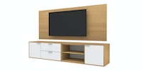 Case Furniture TV Cabinet with Wall Panel PCI004-06-WP1408 Desert Oak - White