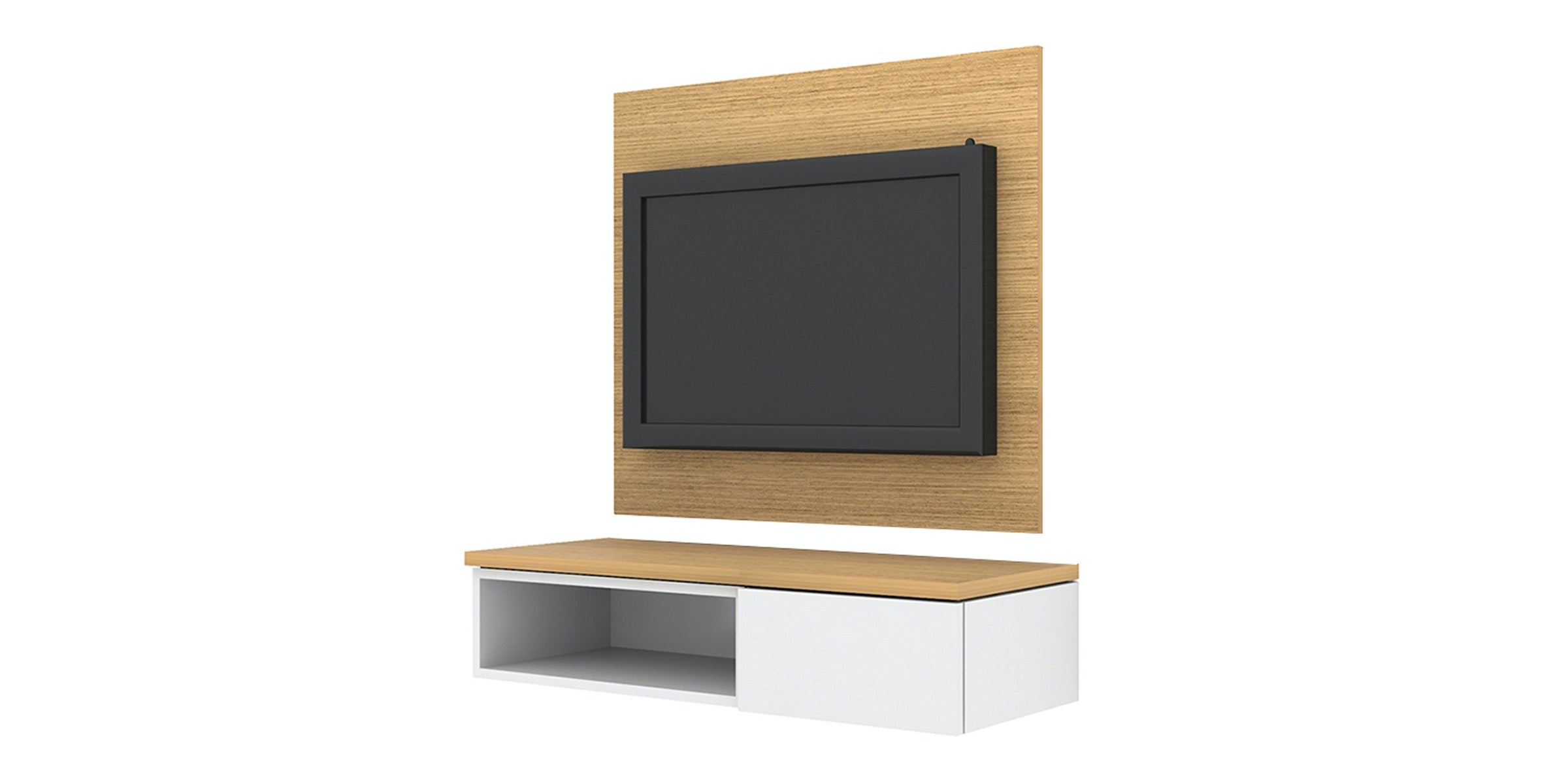 Case Furniture TV Cabinet with Wall Panel PCI005-01-WP1008 Desert Oak - White