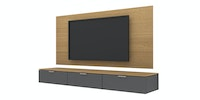 Case Furniture TV Cabinet with Wall Panel PCI005-03-WP1808 Desert Oak - Dark Grey