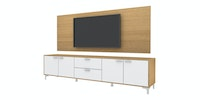 Case Furniture TV Cabinet with Wall Panel PCI006-01-WP2208 Desert Oak - White