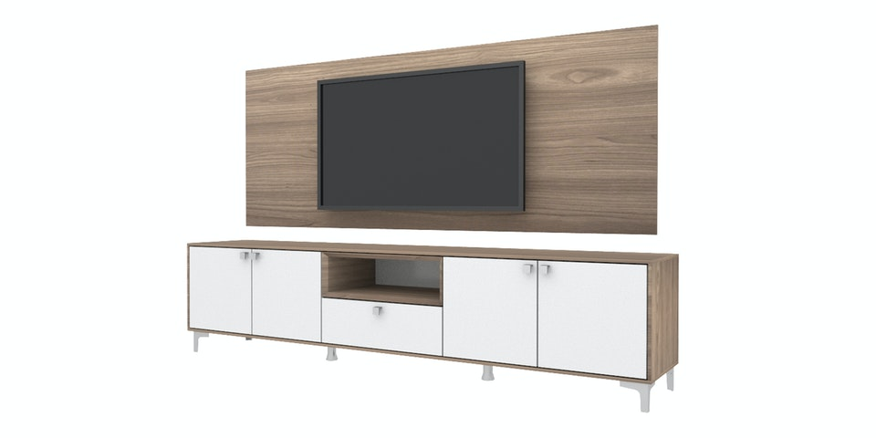 Case Furniture TV Cabinet with Wall Panel PCI006-02-WP2208 Mocha Maple - White