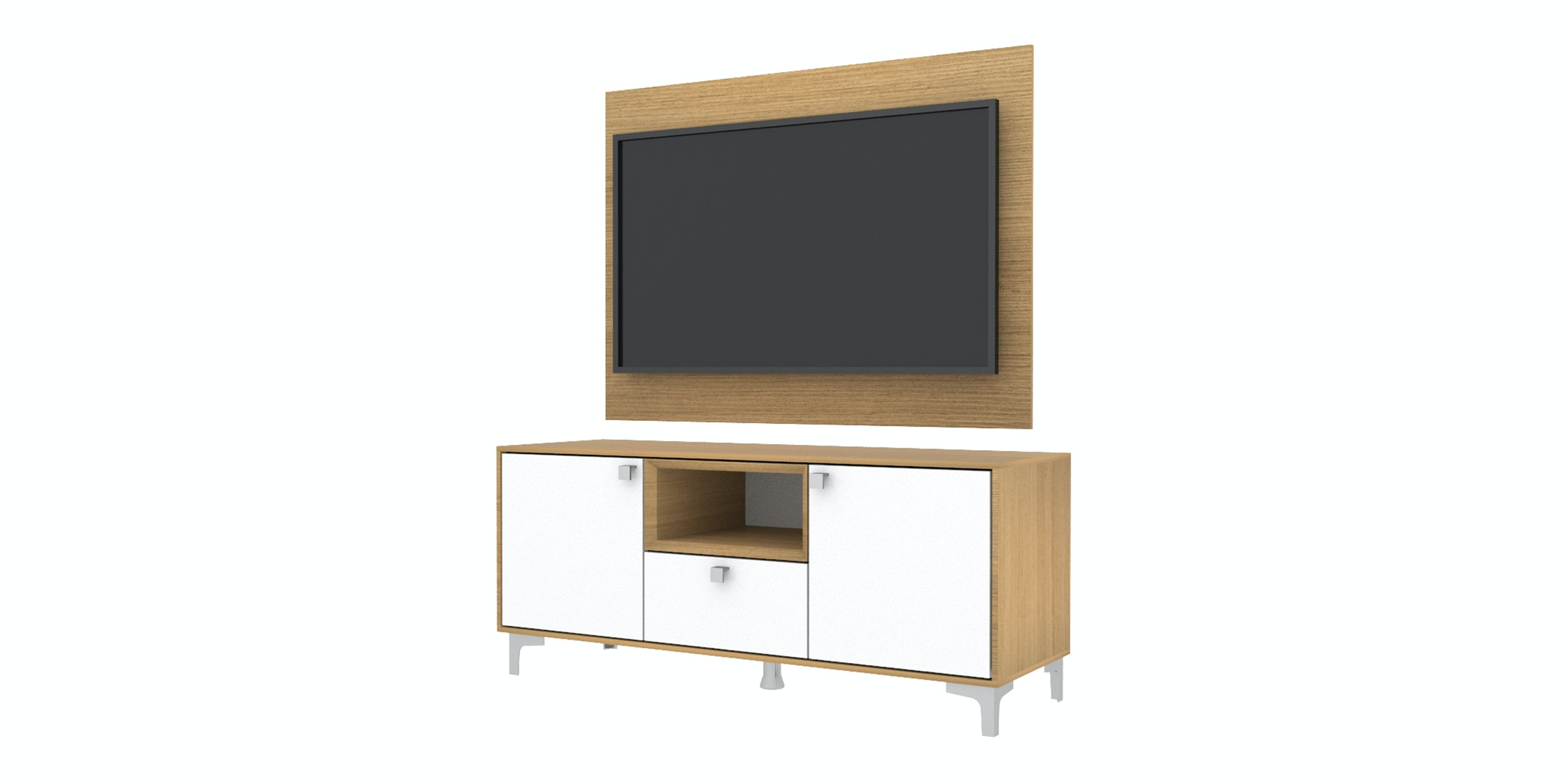 Case Furniture TV Cabinet with Wall Panel PCI006-03-WP Desert Oak - White