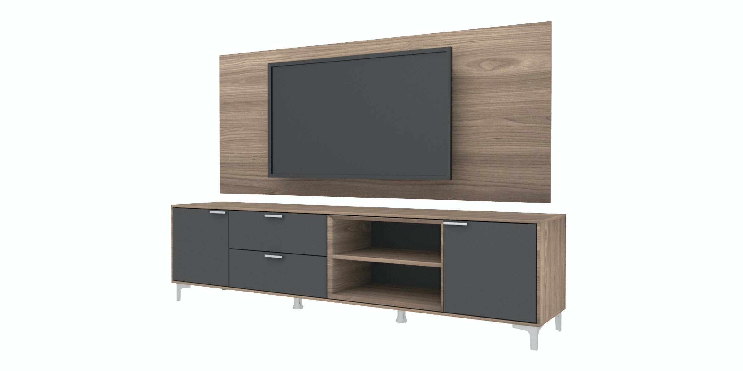 Case Furniture TV Cabinet with Wall Panel PCI006-04-WP Mocha Maple - Dark Grey