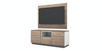 Case Furniture TV Cabinet with Wall Panel PCI006-05-WP Mocha Maple - White