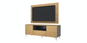 Case Furniture TV Cabinet with Wall Panel PCI006-06-WP Desert Oak - Dark Grey