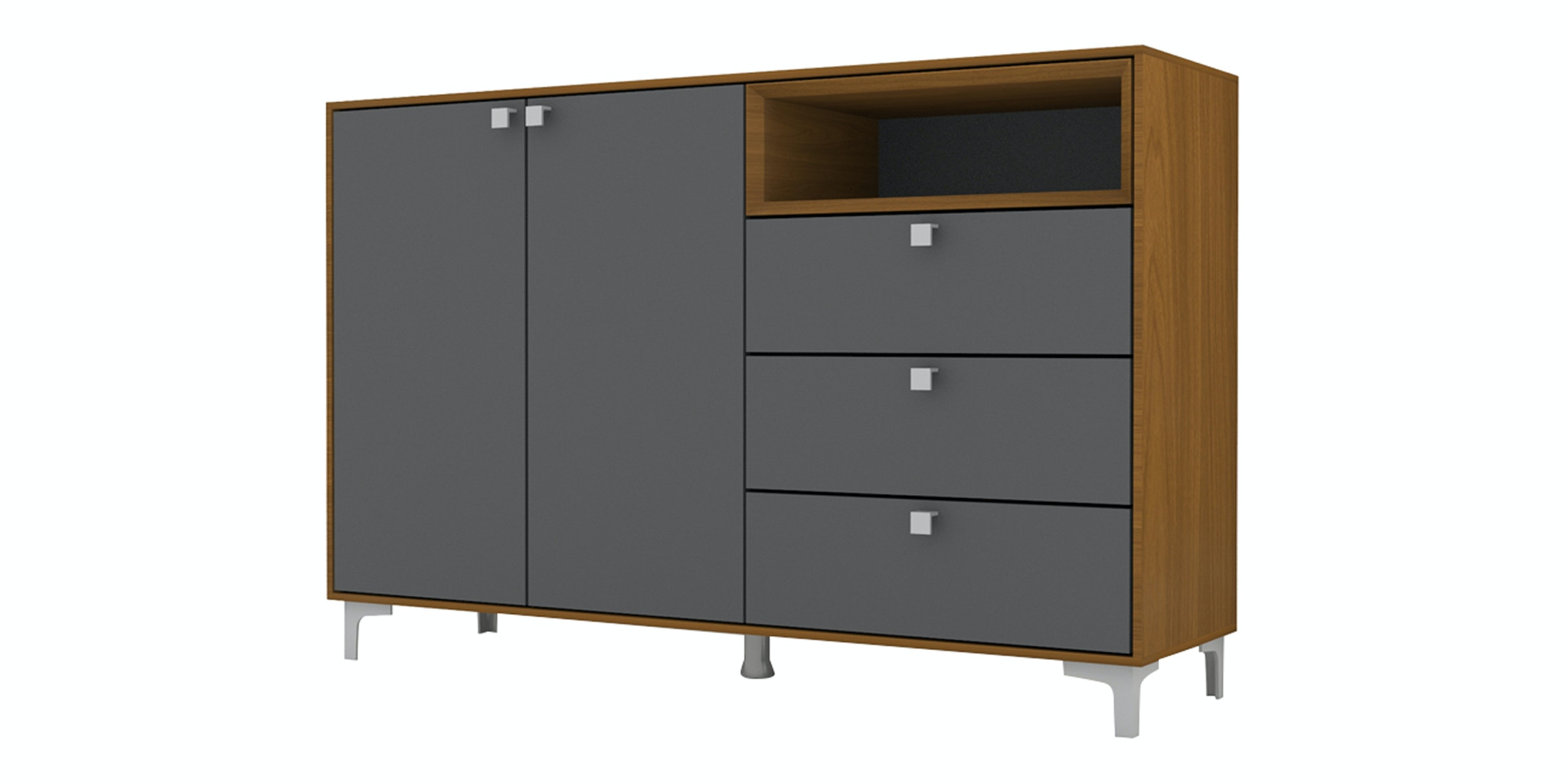 Case Furniture Cabinet Set PCI007-02-00 Rosewood - Dark Grey