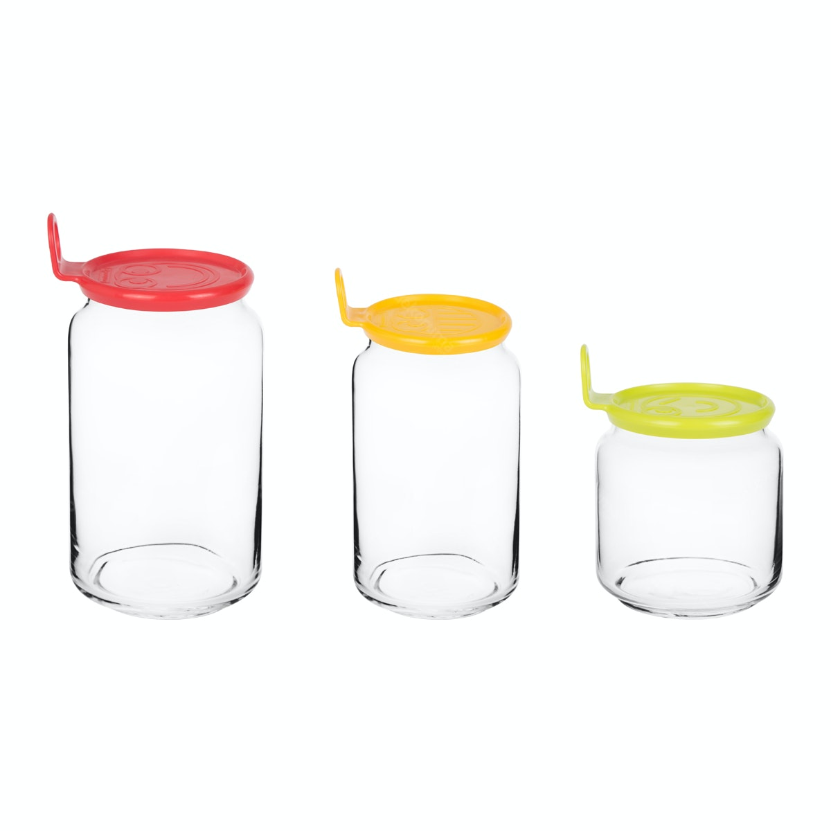 Luminarc Rondo Jar Smile 3 pcs Set (Green. Yellow & Red)
