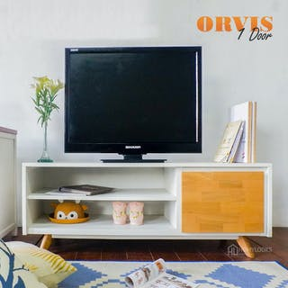 Homylooks Orvis TV Rack - Natural Wood (1 door)