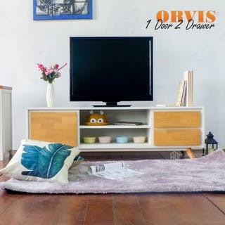Homylooks Orvis TV Rack 2 drawers 1 door - Natural Wood