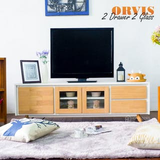 Homylooks Orvis TV Rack 2 drawers 2 doors - Natural Wood