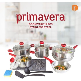 Primavera Cookware 15 Pieces Stainless Steel
