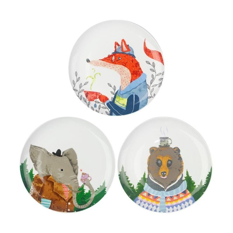 ZEN Piring Animal Drinking Series Elephant, Bear, Fox (3pcs)