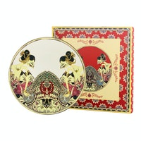 ZEN Ghea Coupe Dessert Plate Wayang Ivory + Giftbox 22 cm