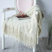 Maiika Knit Blanket Lira- Off White- Throw Blanket 127x230 CM