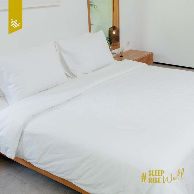 Indolinen Fitted Sheet - White Plain Double 120x200x30 Tc-200