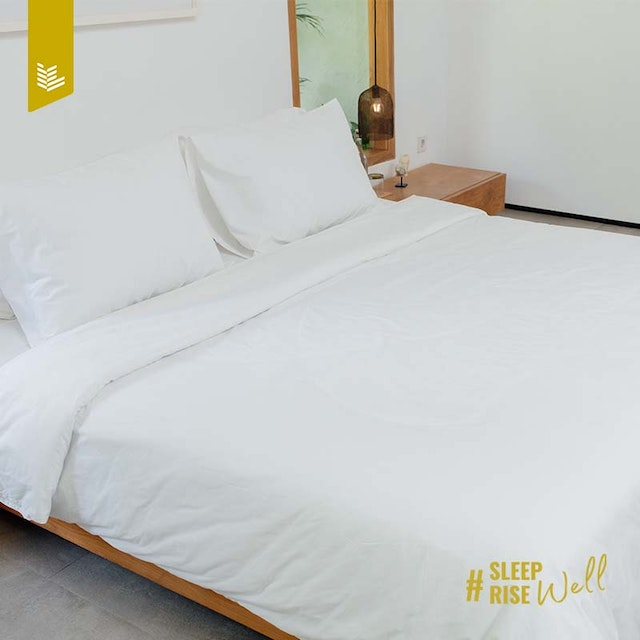 Indolinen Fitted Sheet - White Plain TC-200 Extra King 200x200x30