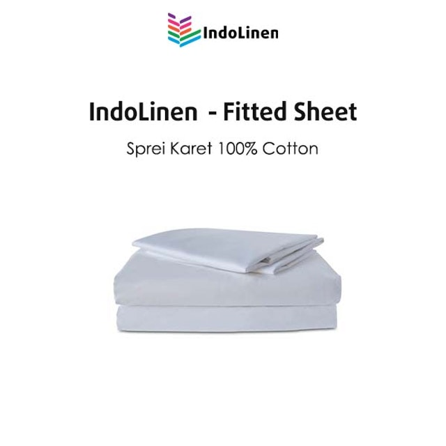 Indolinen Fitted Sheet - White Plain Double 120x200x30 Tc-300