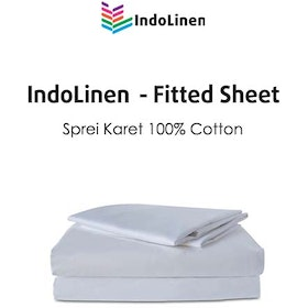Indolinen Fitted Sheet - Sprei Cotton White Plain TC-200 Twin 120x200x30