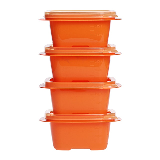 Informa Kay Food Container Sqr 330Ml Org Set (4)