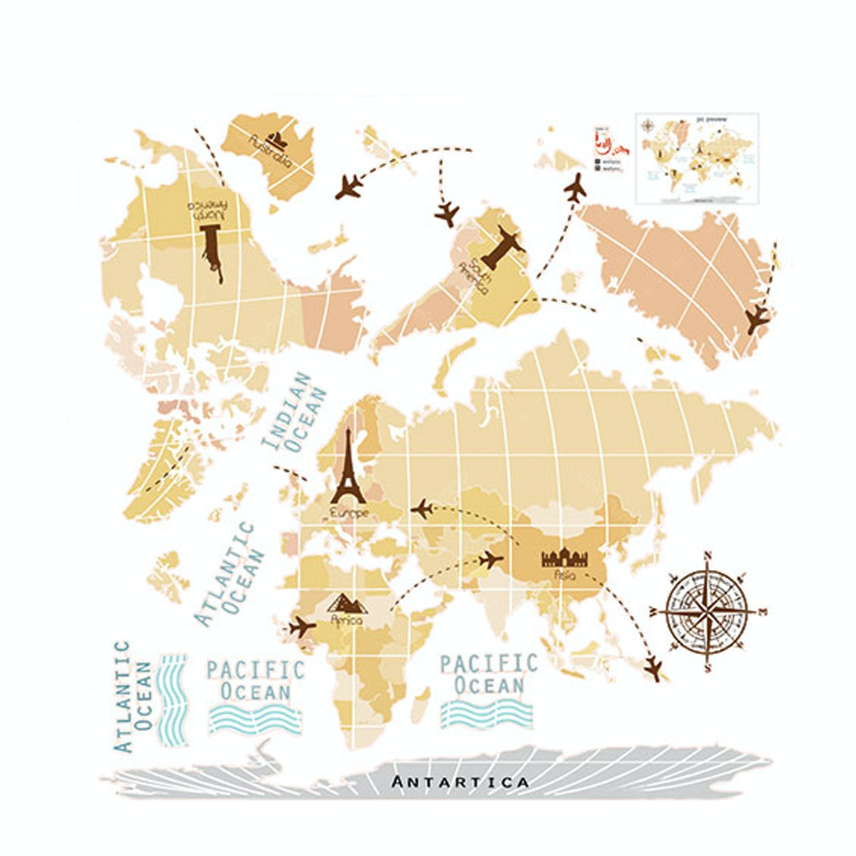 "iwallyou Wall Sticker ""Vintage World Map"""