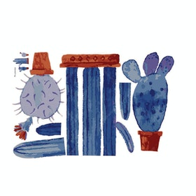 iwallyou Wall Sticker Cactus Blue