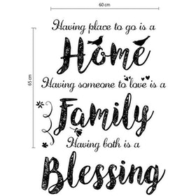 iwallyou Wall Sticker Wording 'Home .. Family .. Blessing'
