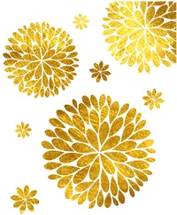 iwallyou Wall Sticker Gold Fire Flowers