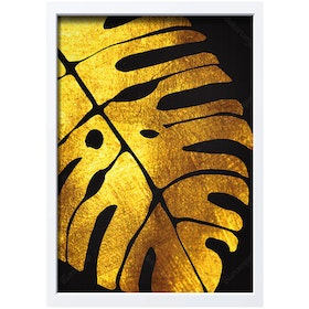 iwallyou Wall Poster Monstera Gold N Black Background