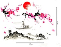 iwallyou Wall Sticker Sunset With Cherry Blossom