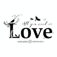iwallyou Wall Sticker All You Need Is Love (Vintage)