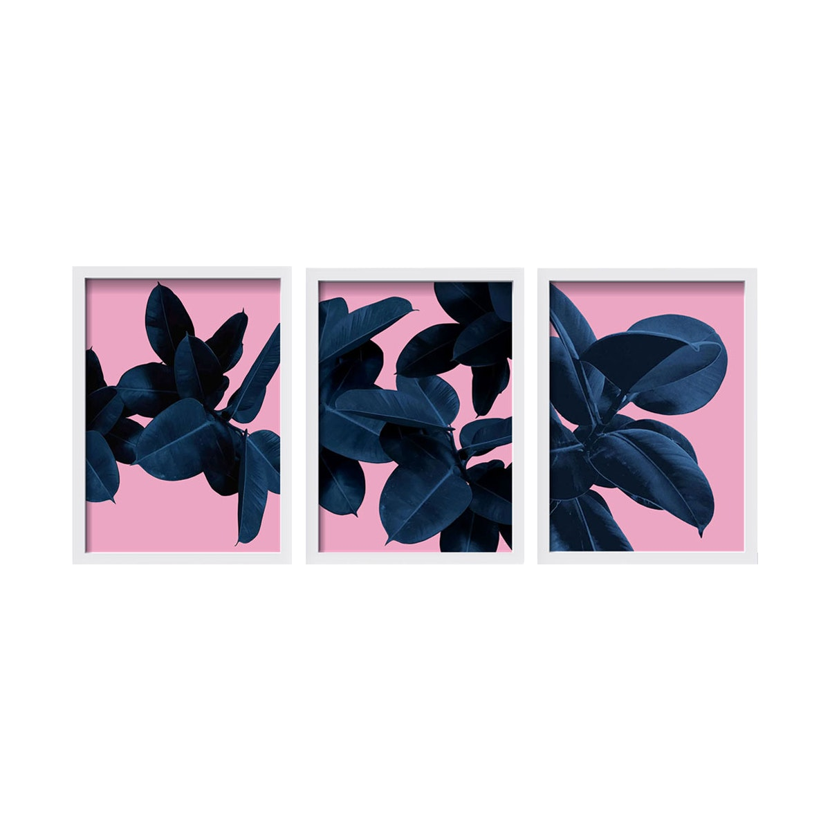iwallyou Wall Poster Blue Leaves on Pink