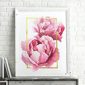 iwallyou Poster Peony With Gold Border
