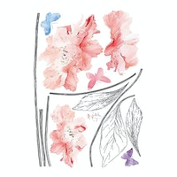 iwallyou Wall Sticker Pink Floral With Handle