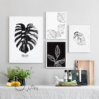 iwallyou Wall Poster Set Tropical Plant Sketch