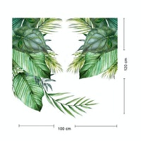 iwallyou Wall Sticker Tropical Hanging Banana & Palm Leaves